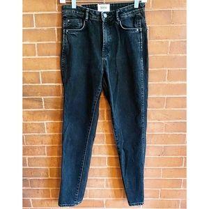 ZARA Black Wash High Rise Straight Leg Jeans